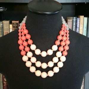 Loft Peachy Coral Chunky Statement Necklace
